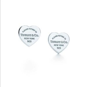 Tiffany and co heart stud earrings
